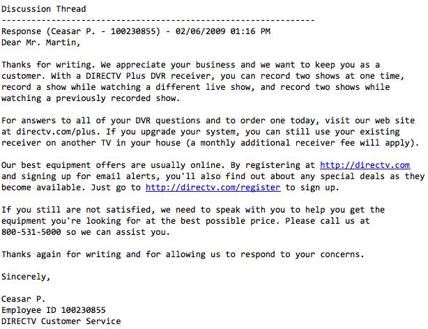 Customer Svc FAIL email