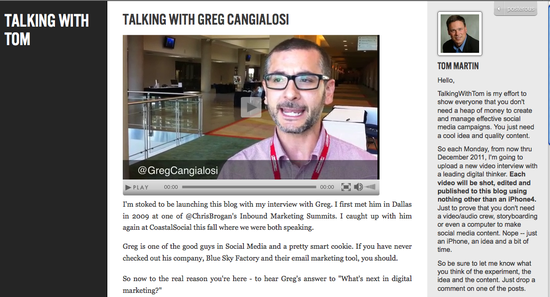 Greg Cangialosi | Talking With Tom Social Media Project